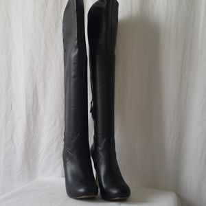 "Guess black boots Sz 8 over the knee 5"" heel"